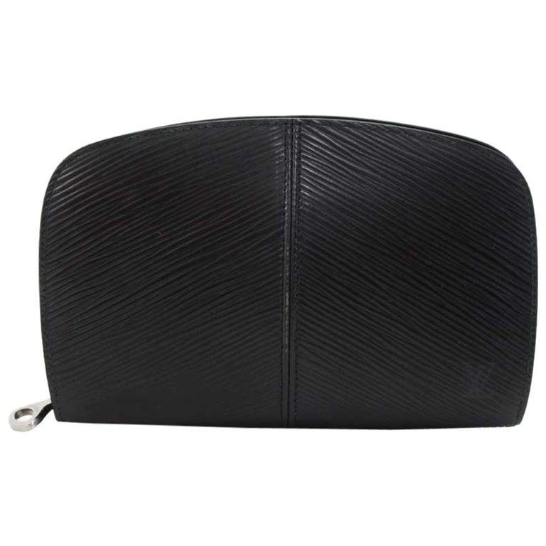 Louis Vuitton Black Epi Leather Demi lune Wallet w/ coin case For Sale