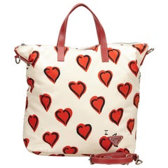 Prada White x Red Heart Patterned Nylon Satchel