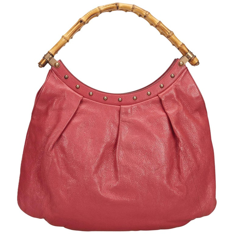 Gucci Pink Bamboo Leather Handbag For