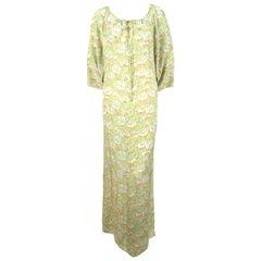 1970's CHRISTIAN DIOR floral printed silk caftan dress