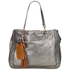 Chloe Silver Metallic Leather Eden Tote
