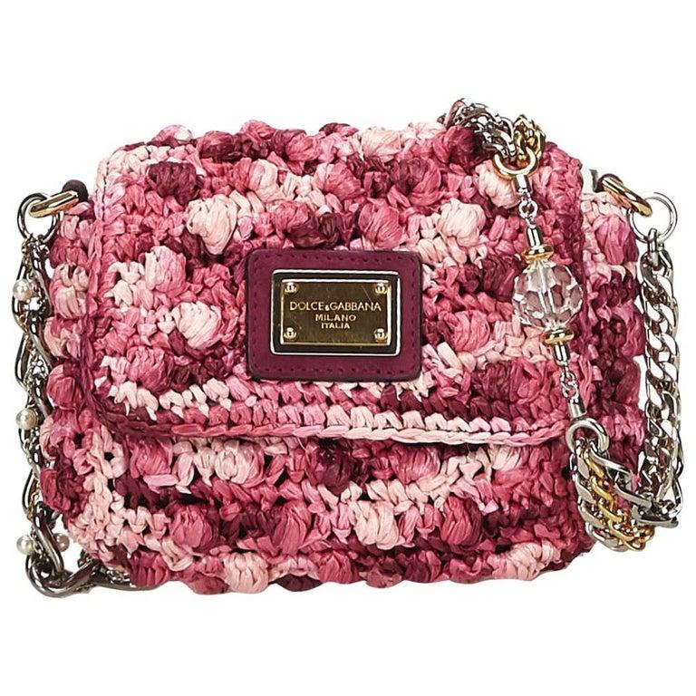 Dolce&Gabbana Pink x Purple Knitted Crossbody Bag
