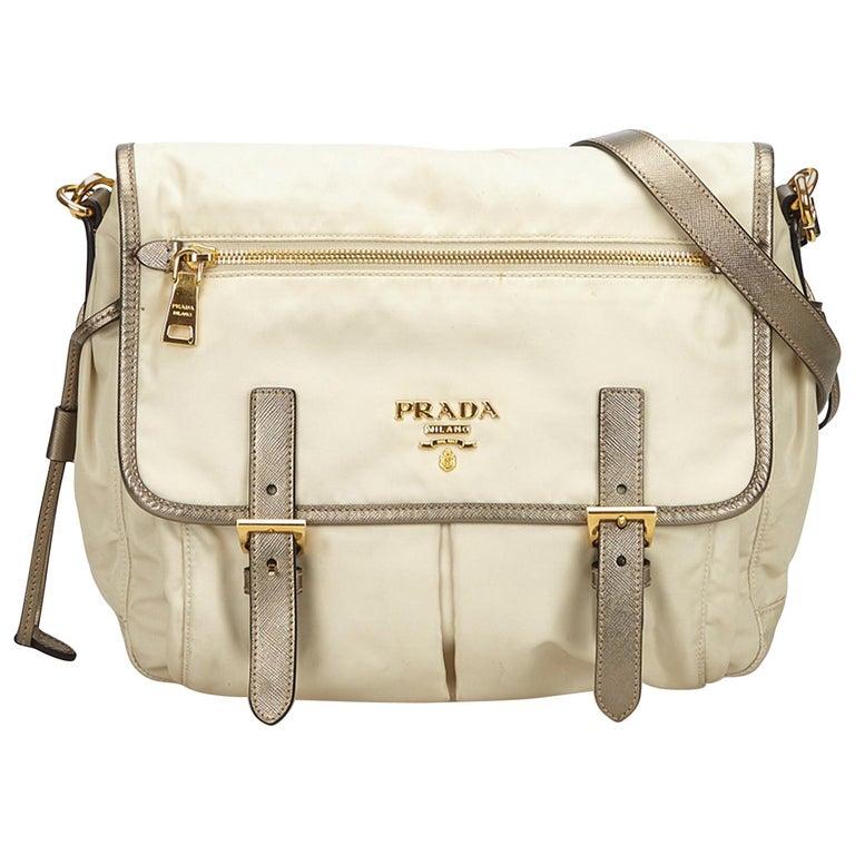 2200909828 Prada White x Ivory x Gold Nylon Messenger Bag For Sale at 1stdibs