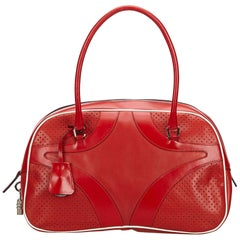 Prada Red Perforated Leather Shoulder Bag