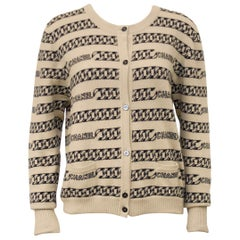 Chanel Cashmere Intarsia Chain Pattern Cardigan