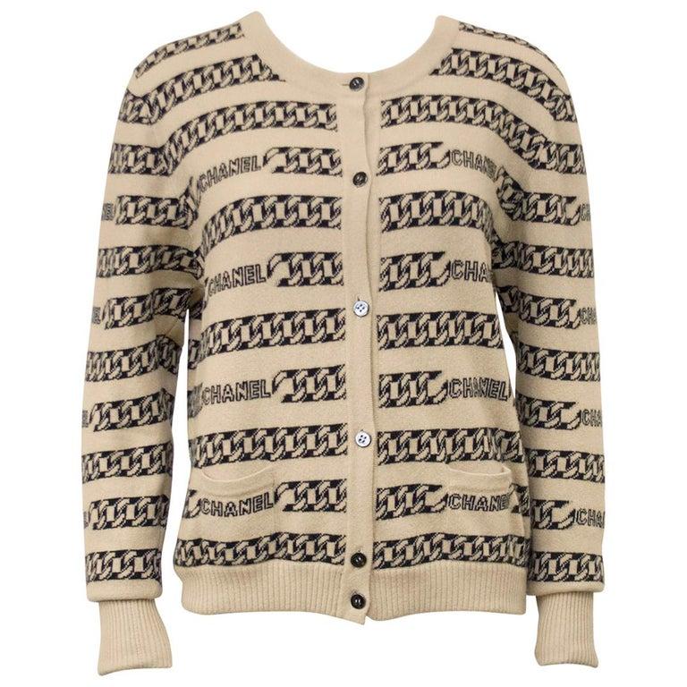 Chanel Cashmere Intarsia Chain Pattern Cardigan