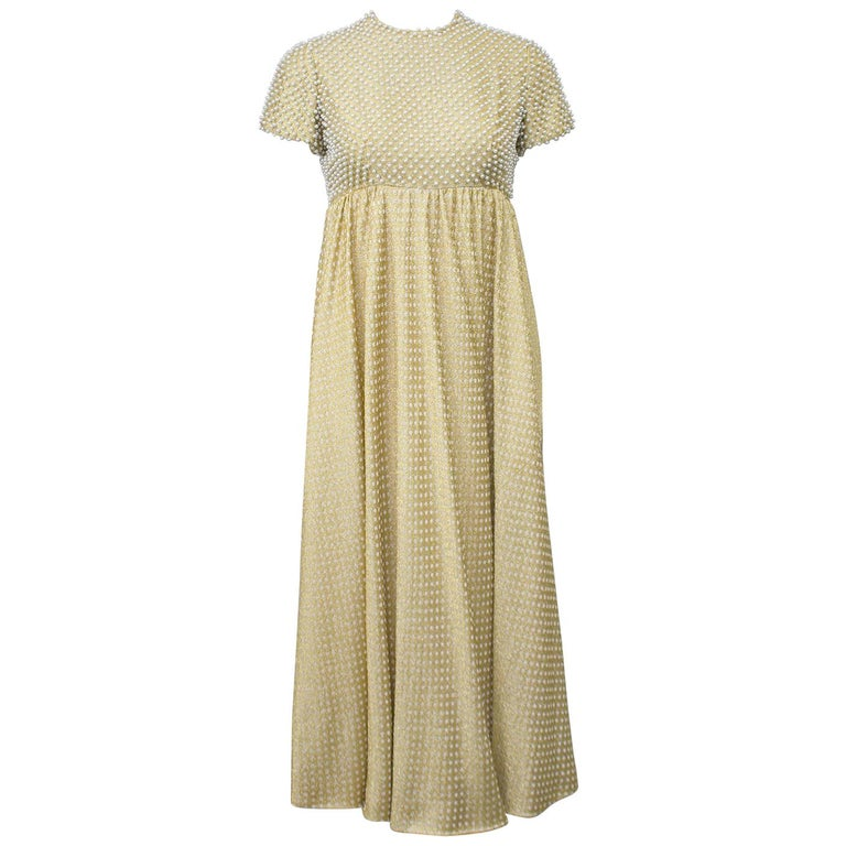 1970's Geoffrey Beene Gold Metallic Knit Dress w Pearls For Sale