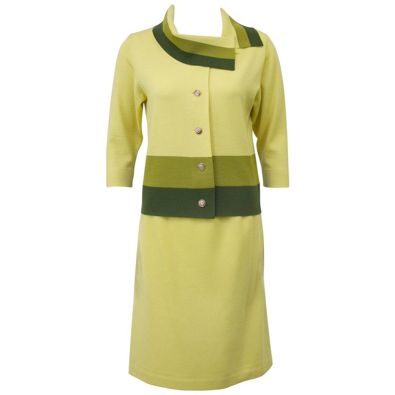 1960's Yellow and Green Italian Knit Color Block Skirt Suit For Sale