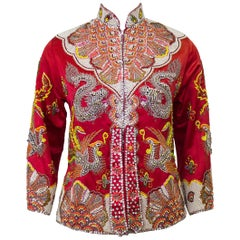 Dynasty Red Dragon and Phoenix Beaded Jacket, 1960s