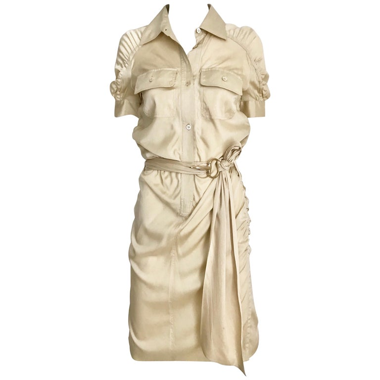 Gucci  by Tom Ford Tan Silk Shirt Dress  For Sale
