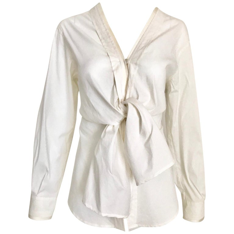 Yves Saint Laurent by Tom Ford  White Cotton Tie Front Blouse
