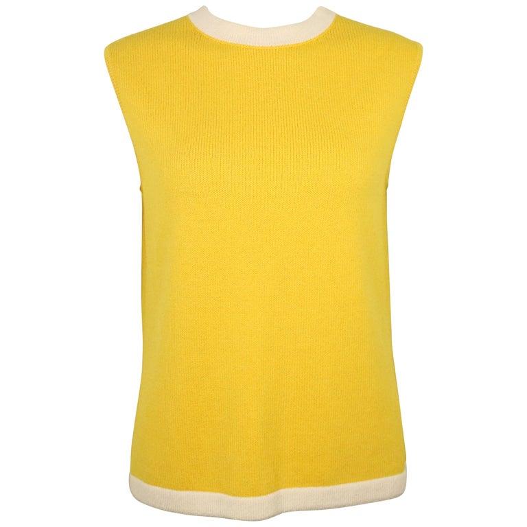St John Yellow Cotton Sleeveless Top For Sale