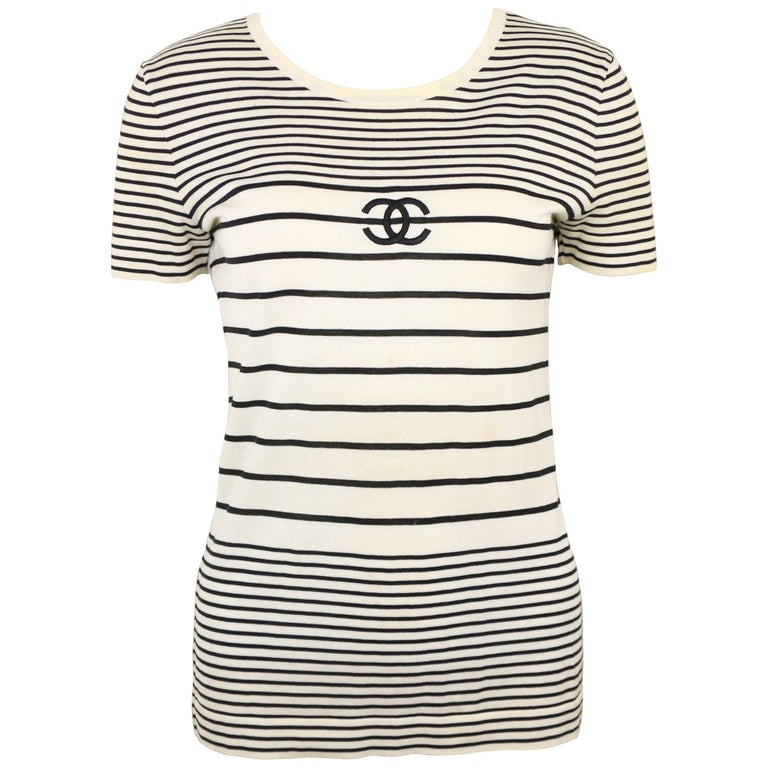 "Chanel Cotton Black and White Stripe ""CC"" Short Sleeves Top"