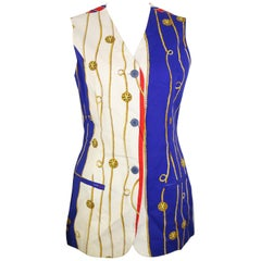 Trussardi Jeans Cotton Multi-Coloured Unique Patterned Long Vest