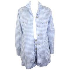 Chanel Cotton Blue and White Check Shirt and Short Pants Ensemble