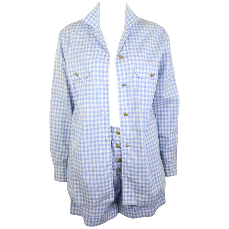Chanel Cotton Blue and White Check Shirt and Short Pants Ensemble  For Sale