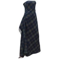 Ralph Lauren Cashmere Blend Tartan Plaid Evening Dress