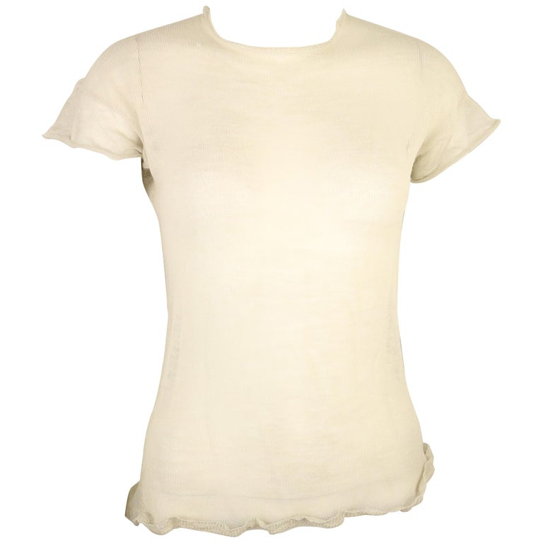 Jil Sander Wool and Silk Ivory Knitted Short Sleeves Top For Sale