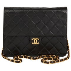 1990s Chanel Black Quilted Lambskin Vintage Small Classic Single Flap Bag