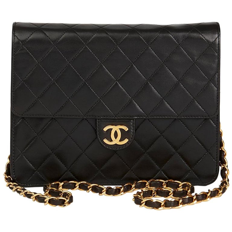1e824c6ea37e 1990s Chanel Black Quilted Lambskin Vintage Small Classic Single Flap Bag  For Sale