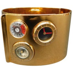 "Lanvin Vintage 1970 Gold Toned Metal Watch ""Bracelet De Force"" Cuff"