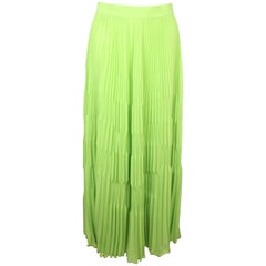 Escada Green Polyester Pleated Long Skirt