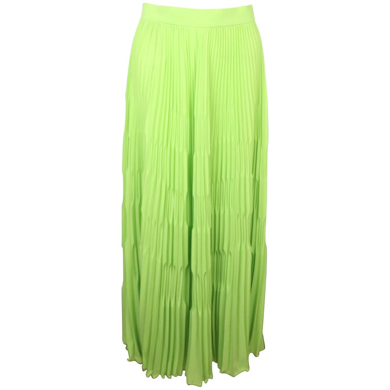 Escada Green Polyester Pleated Long Skirt  For Sale