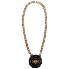 Gianni Versace rose gold and black enamel chain medallion necklace