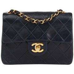 2000s Chanel Navy Quilted Lambskin Vintage Mini Flap Bag