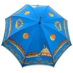 Atelier Versace Vintage Fall 92 Silk Umbrella with American Indian Tee Pee Print
