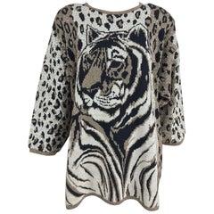 Metallic knit wild tiger knit sweater 1980s