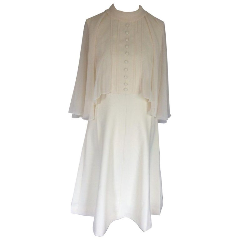 Peggy French couture cream cape dress