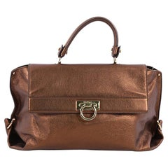 Salvatore Ferragamo Sofia Satchel Pebbled Leather Large