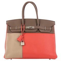 Hermes Birkin Handbag Tricolor Clemence and Swift with Brushed Palladium