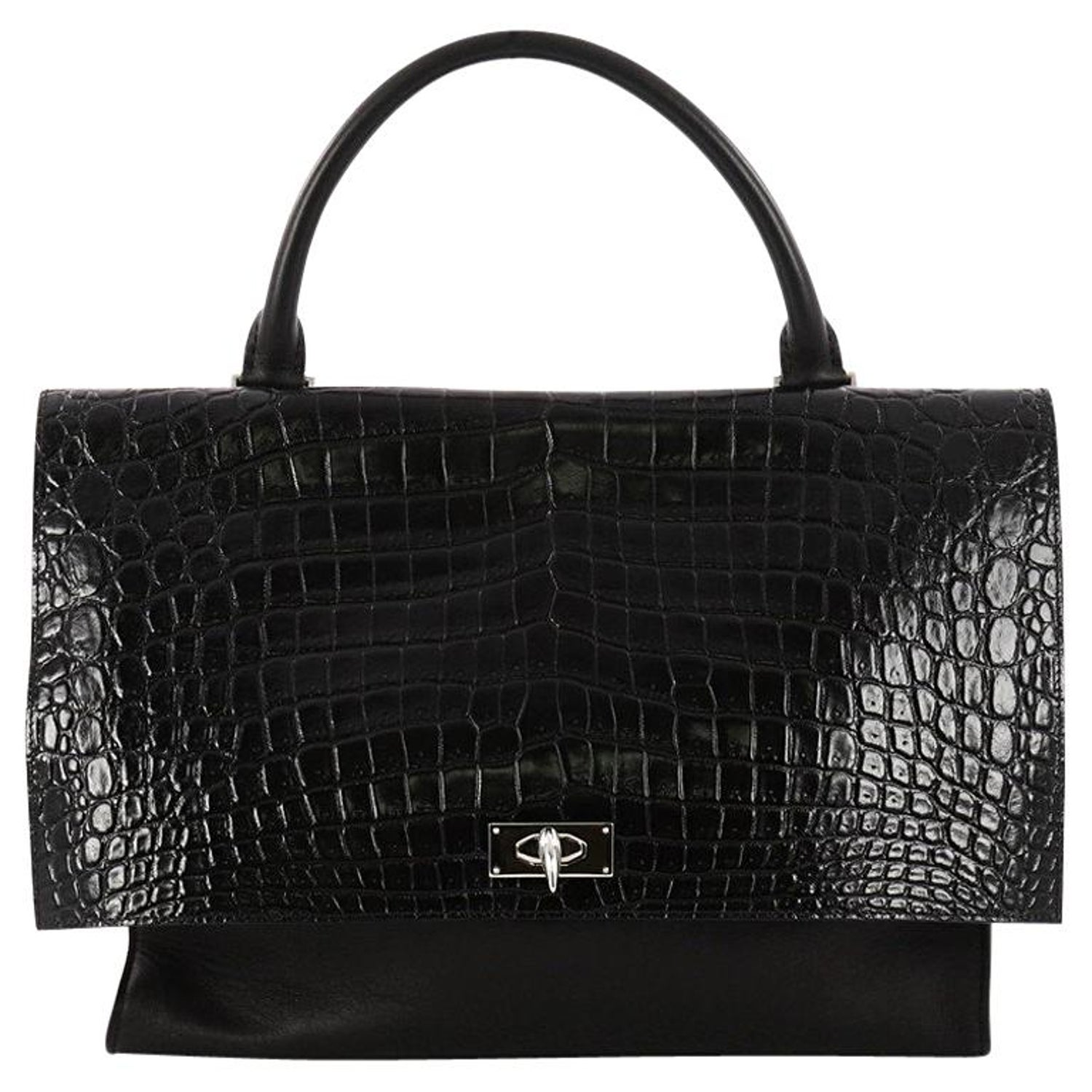 c714483973bd Givenchy Shark Convertible Satchel Crocodile Embossed Leather Medium at  1stdibs