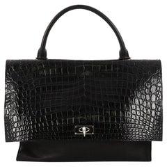 Givenchy Shark Convertible Satchel Crocodile Embossed Leather Medium