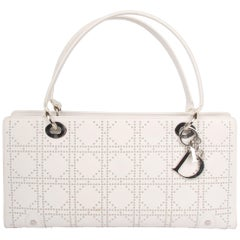 Lady Dior white leather East West Studded Bag