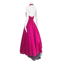 Beautiful Vintage Vicky Tiel Couture Raspberry Pink Silk Satin Evening Gown