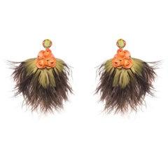 Cattleya Ostrich Feather Earring