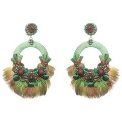 Sambodromo Raffia and Mallard Feather Earring