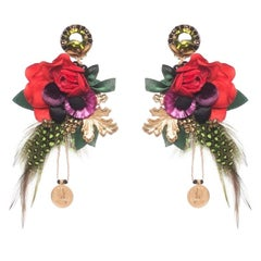 Leme Floral Earring with Antique Indian Coins
