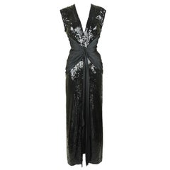 Vintage Azzaro Black Sequin Gown with Silk Sash - Size S