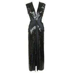 Vintage Azzaro Black Sequin Gown with Silk Sash - Size S