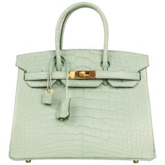 Hermes Birkin 30 Bag Vert D'eau Matte Alligator Gold Hardware