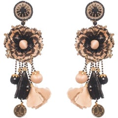 Botafogo Raffia and Lady Amherst Feather Earring