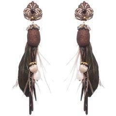 Urubu Silkworm Cocoon and Feather Earring