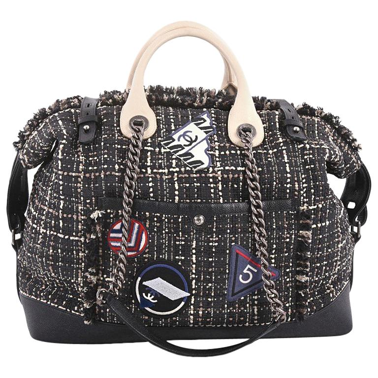 219dcc9dbb Chanel Crest Trip Bowling Bag Patch Embellished Tweed and Grained Calfskin  Large For Sale