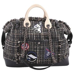 Chanel Crest Trip Bowling Bag Patch Embellished Tweed and Grained Calfskin Large