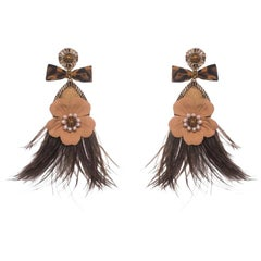 Lago-B Mother-of-Pearl and Ostrich Feather Earring