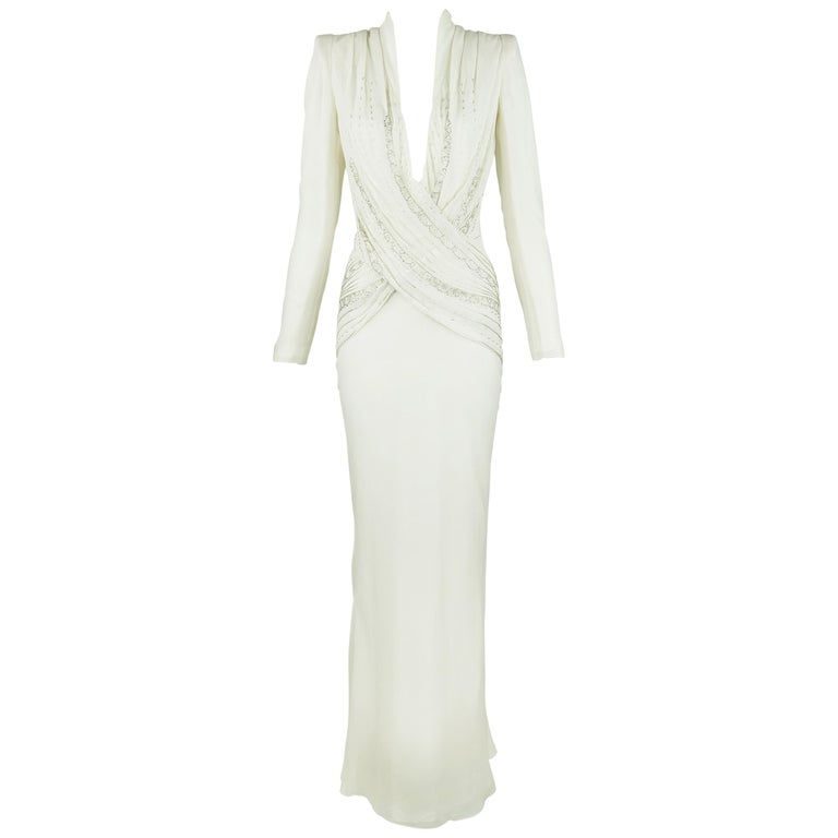 Christian Dior Vintage White Silk Beaded Gown
